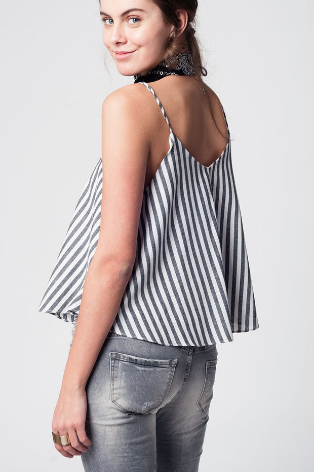 Black Striped Cami Top