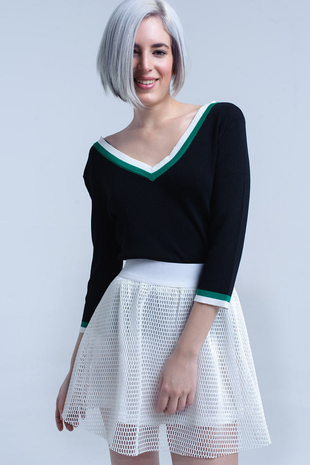 Black V-Neck Jersey With Green And White Contrast Trim