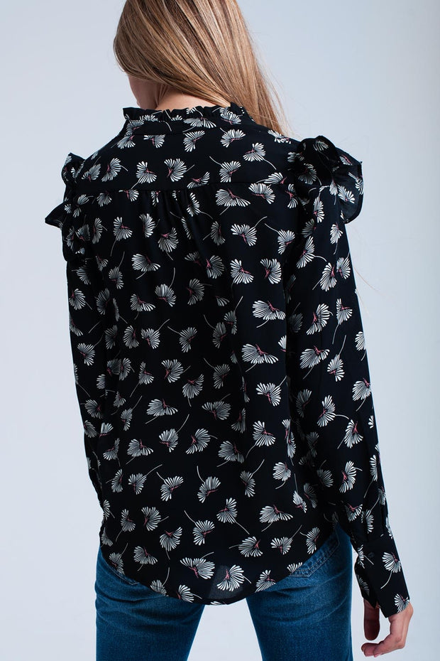 Black Floral Printed Shirt