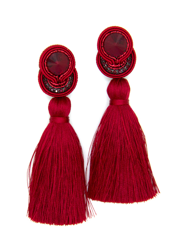 Tassel Earrings In Dark Red Color