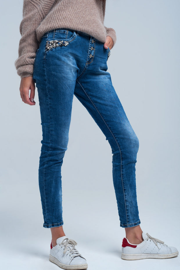 Blue Boyfriend Jeans With Pearls