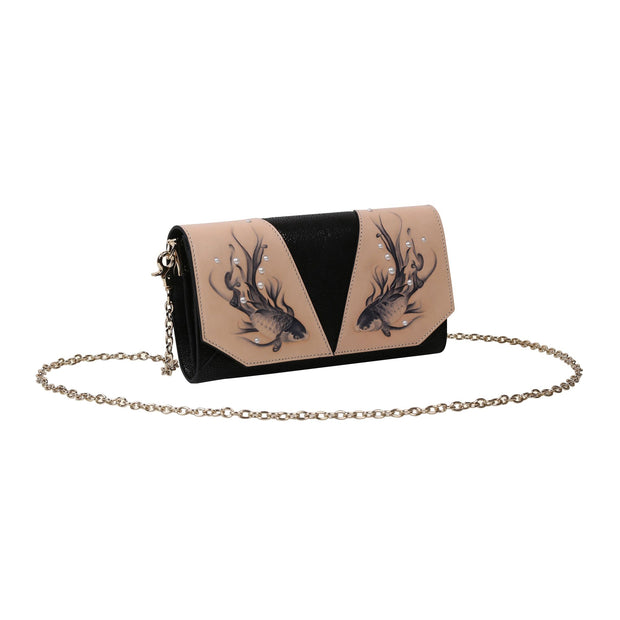 Fish Black Crossbody Clutch
