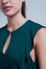 Top With Ruffles In Dark Green