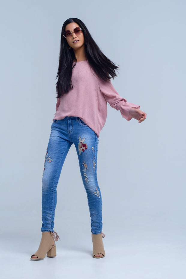 Jeans With Floral Embroidery