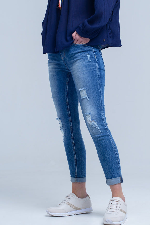 Distressed Ripped Skinny Jean