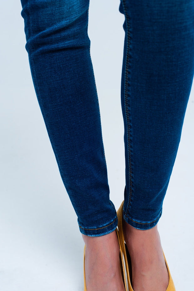 Dark Blue Little Ripped Skinny High Waist Jeans