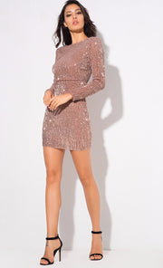 Champagne Sequin Mini Dress