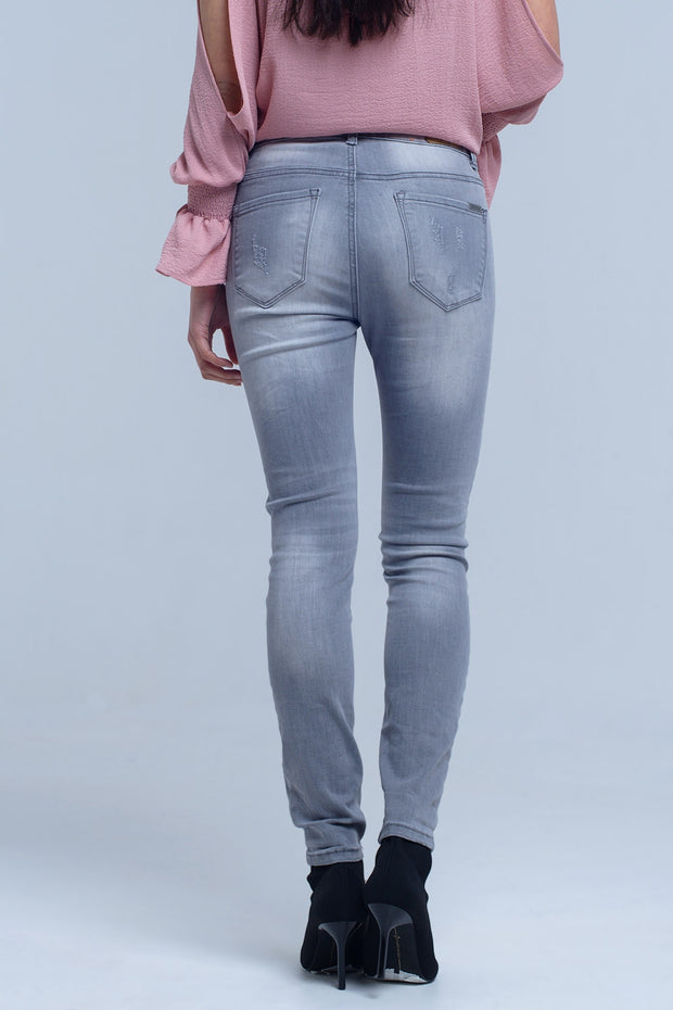 Gray Jeans With Rips Detail