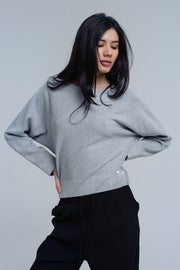 Gray Sweater With Boat Neck
