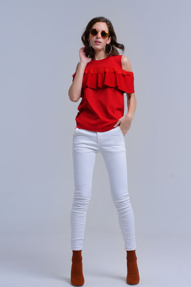 Red Cold Shoulder Sweater With Ruffle And Lace
