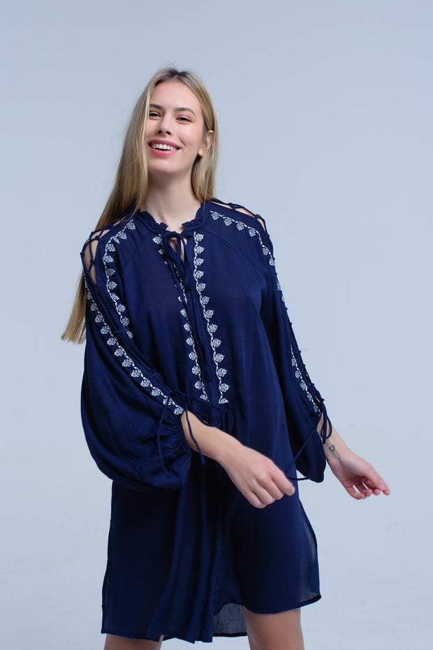 Blue Navy Embroidered Dress With Open Sleeve Detail