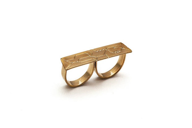 Double Finger Metro Ring- Silver