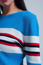 Turquoise Sweater With Stripes