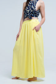 Yellow Maxi Skirt With Pockets