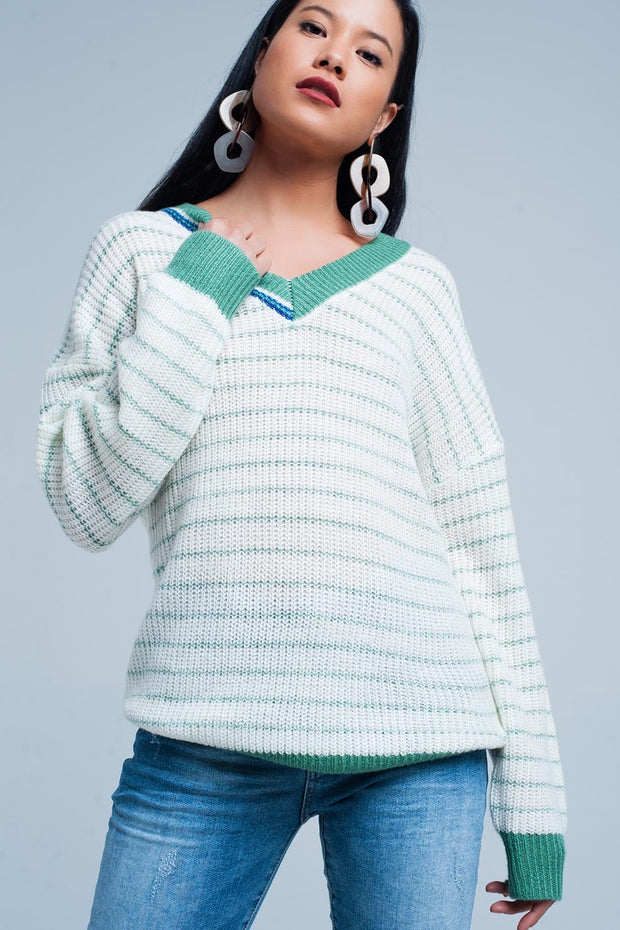 Green Striped Sweater With V-Neck