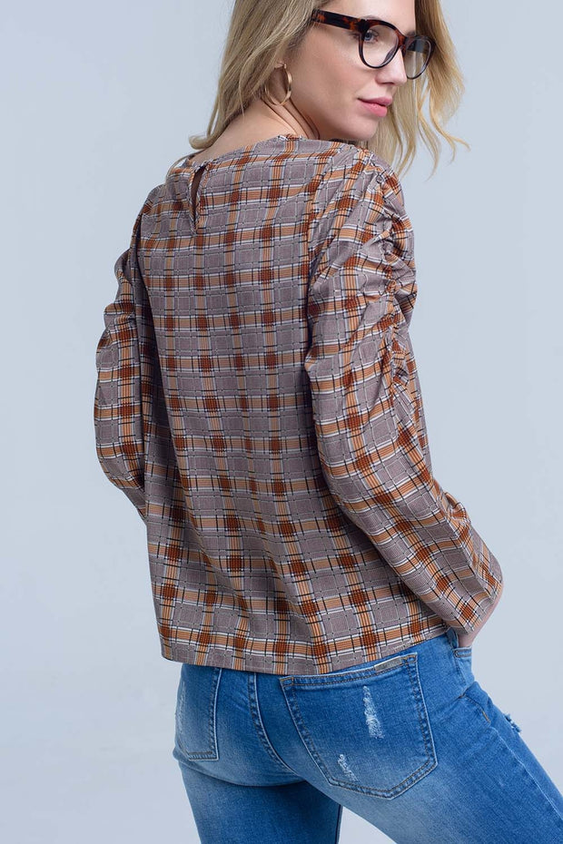 Brown Top With Check Print