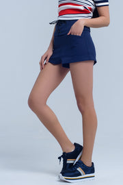 Navy Short With Tie Detail