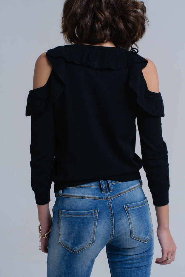 Black Sweater With Ruffle Detail At Front