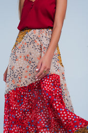 Red Floral Meadow Bias Cut Midi Skirt