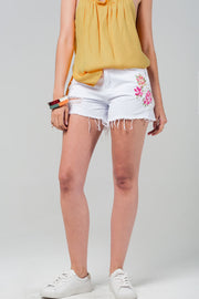 White Denim Shorts With Embroidered Flowers