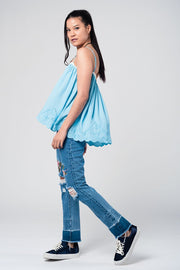 Blue Top With Crochet Detailing