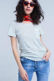Cream T-Shirt With Turquoise Stripe