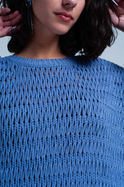 Blue Dropstitch Knitted Sweater