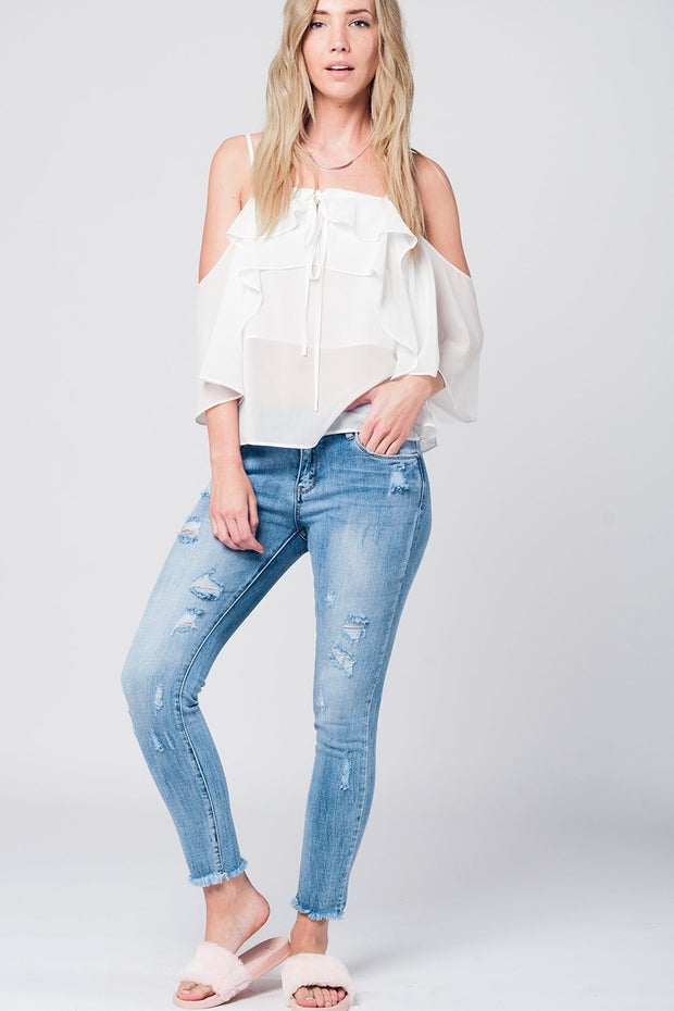 Cream Cold Shoulder Top