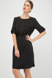Straight Black Tencel Dress With Belt Detail