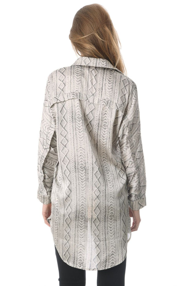 Satin Longline Shirt In Grey Abstract Print