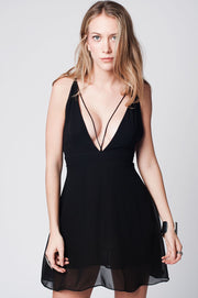 Black Cross Back Stripes Short Dress