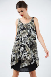 Sleeveless Print Chiffon Dress With Layers