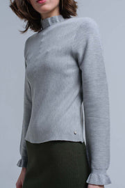 Sweater With Ruffle In Gray