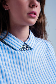 Cropped Striped Shirt In Blue