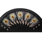 Feather Black Crossbody Clutch