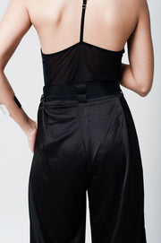 Black Satin High Waist Trousers With Wide Leg