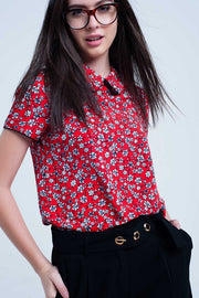 Red Shirt With White Flowers Print