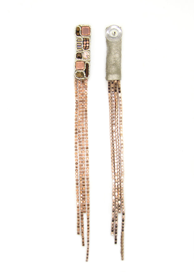 Extra Long Earrings In Rose Gold Color