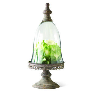 "15"" Glass Dome w/Metal Knob & Filigree Pedestal Base"