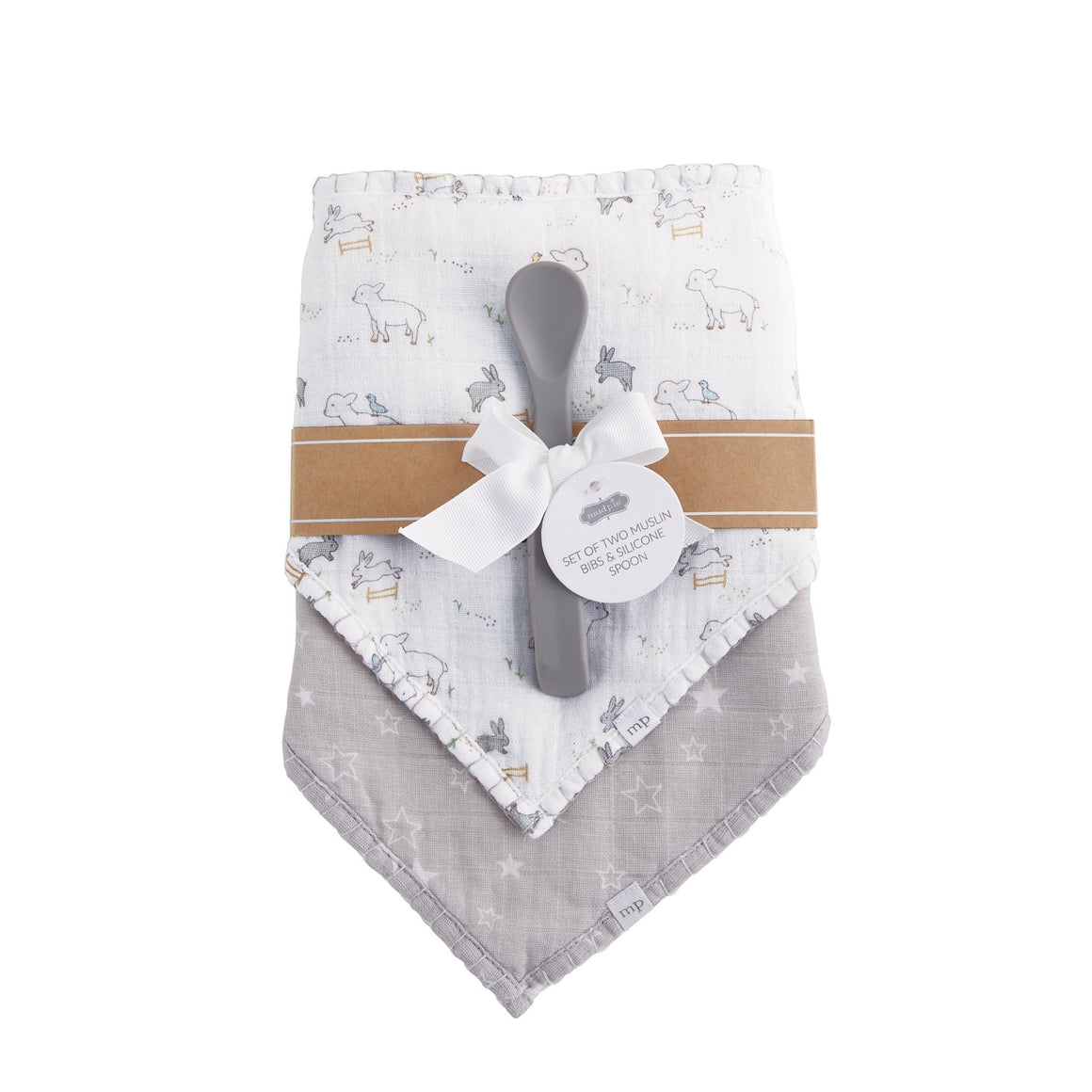 Lamb Muslin Bib & Spoon Set