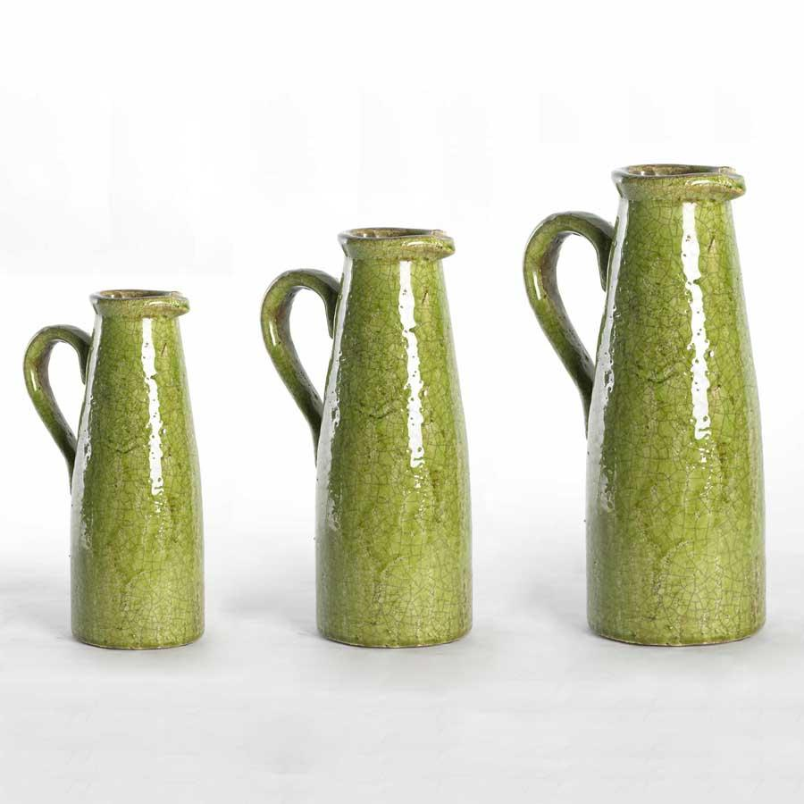 Green Ceramic Crackled Pitchers