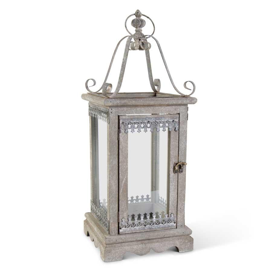 "25.5"" Gray Wood & Metal Open Top Lantern w/Filigree Detail"