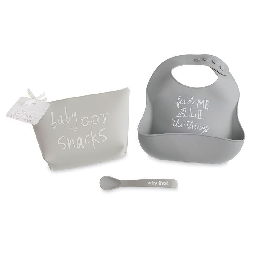 Gray Silicone Feeding Set
