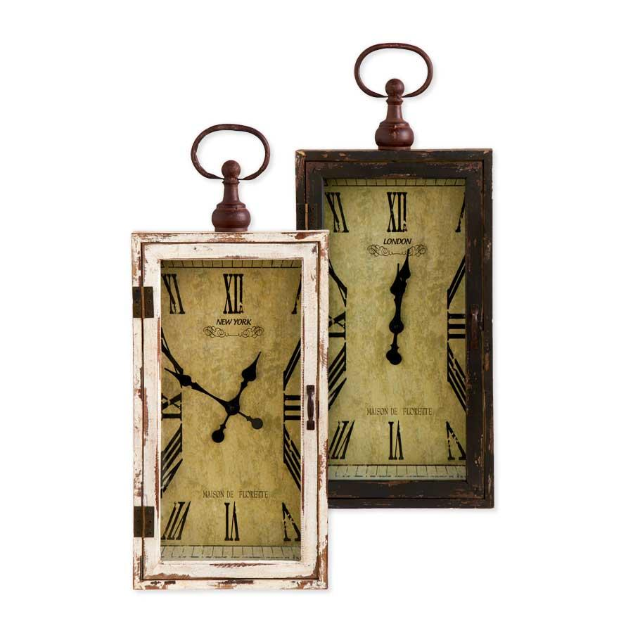 "28"" Rectangle Wood Assorted Black & White Wall Clocks (2 Styles)"