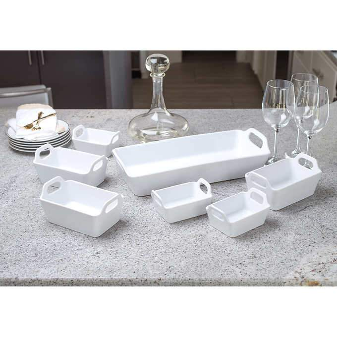 Classic White Rectangular Serving Dish with Handles - Small