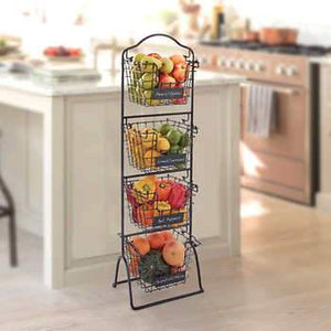 4-Tiered Metal Market Baskets on Stand