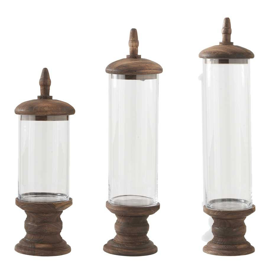 Set of 3 Glass Cylinder Containers w/Brown Wood Base