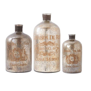 Set of 3 Assorted Vintage Mercury Glass Bottles with Script (Grad Sizes)