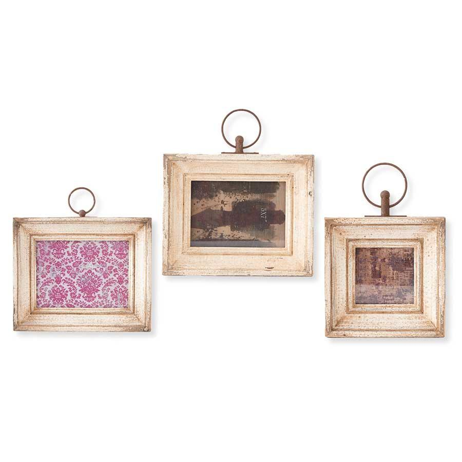Set of 3 Assorted White Vintage Wood Frame (3 Styles)