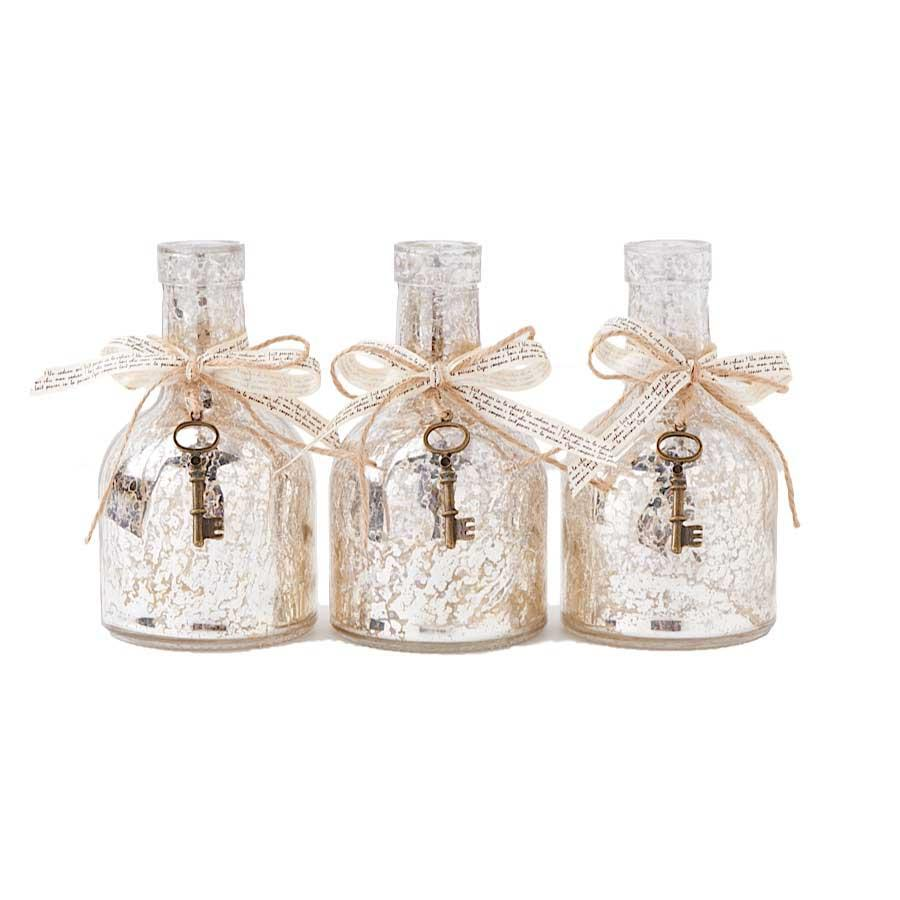 "6.5"" Mercury Glass Bottle w/Ribbon & Key"